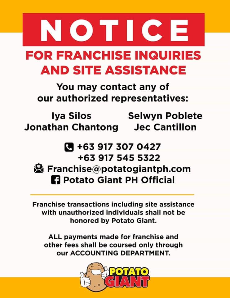 Potato Giant franchise contact details