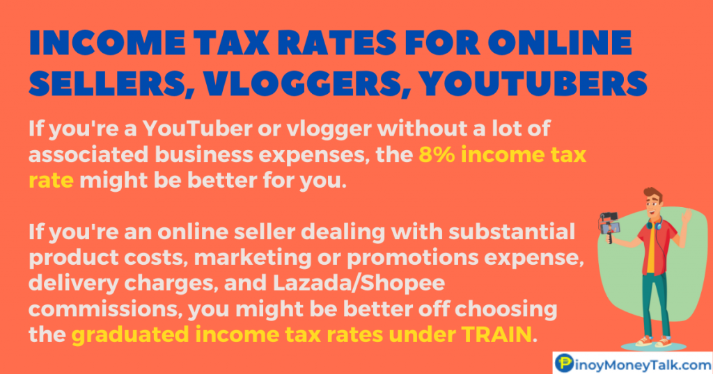 BIR tax rates for YouTubers, vloggers, online sellers