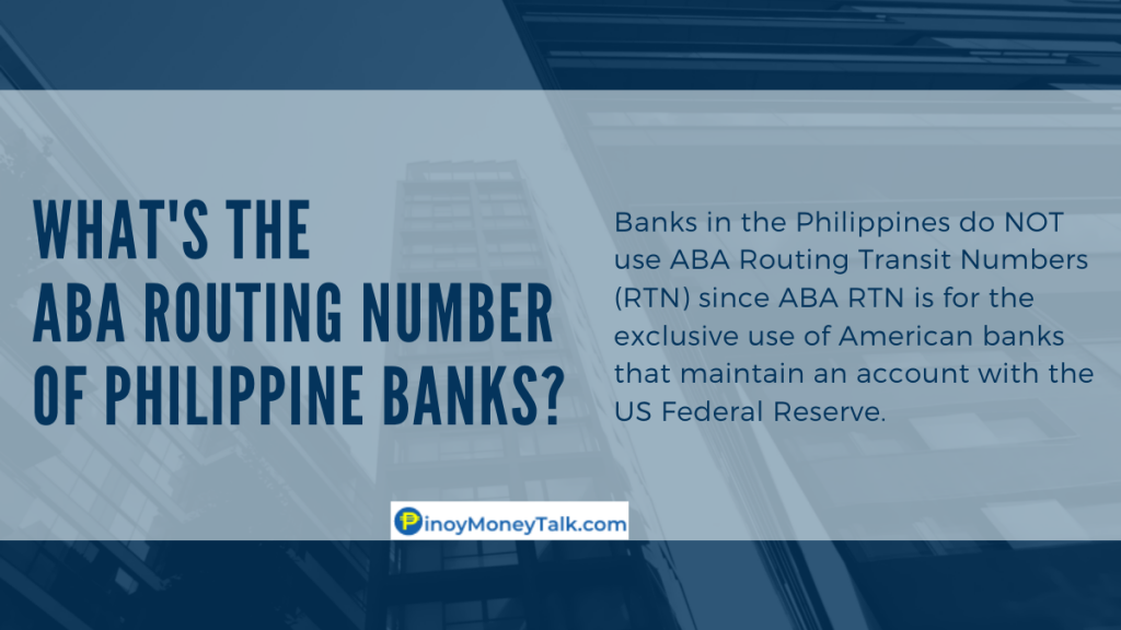What's the ABA Routing Number of Philippine banks?