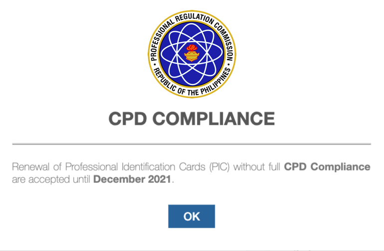 PRC ID can be renewed until December 2021 without CPD compliance