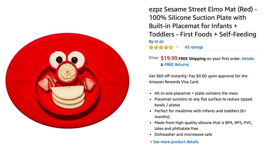 Sesame Street design - EZPZ Kids Food Placemat