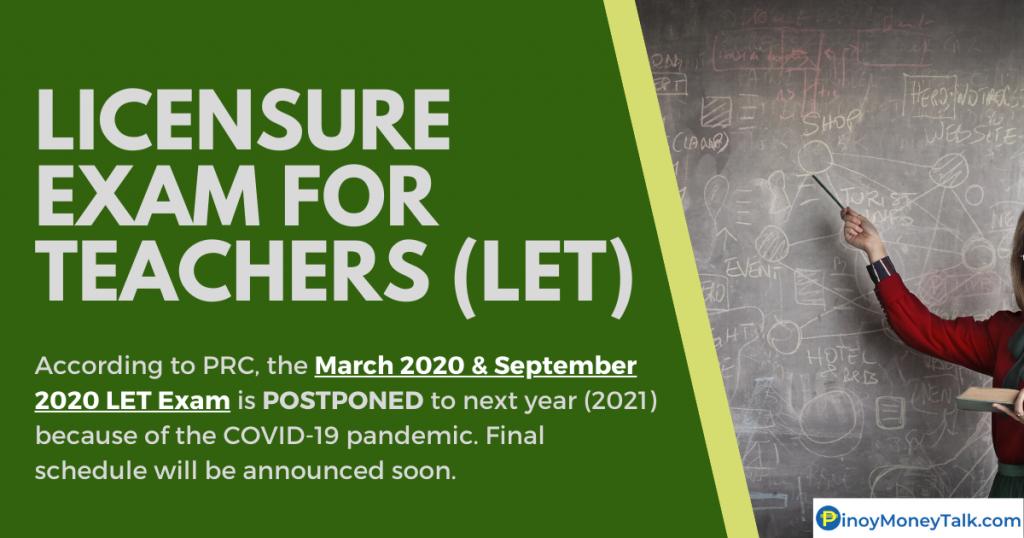 LET Exam for Teachers in September 2020 is postponed to 2021