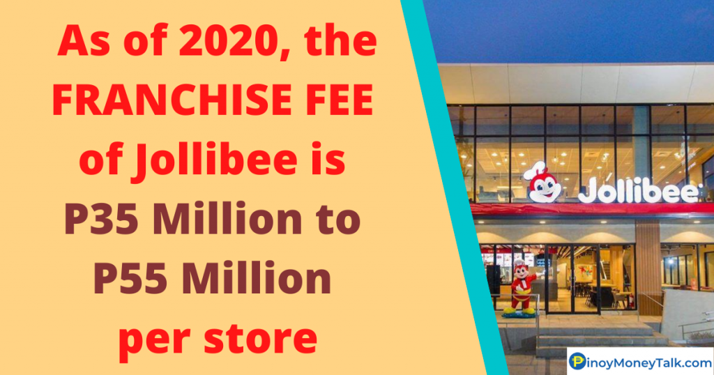 Jollibee franchise fee in the Philippines is P35 Million to P55 Million