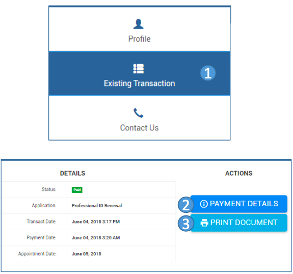 "Click ""Existing Transactions"" then ""Payment Details"" then ""Print Document"" in PRC renewal website"